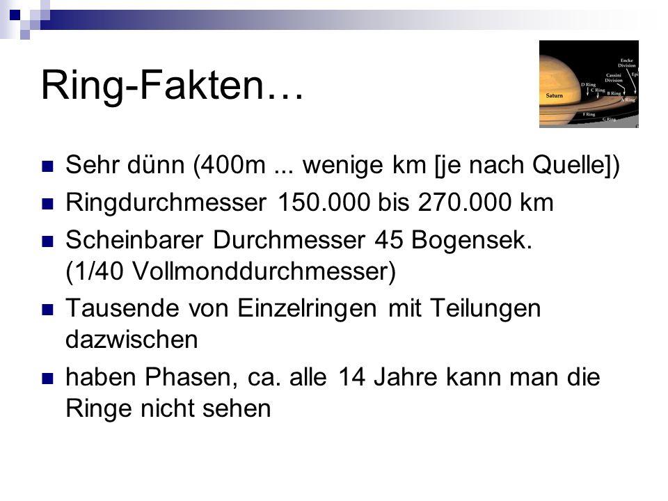 Ring-Fakten… Sehr dünn (400m ... wenige km [je nach Quelle])